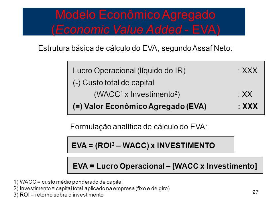 EVA = Lucro Operacional – [WACC x Investimento]